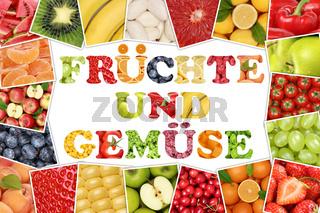 Rahmen mit Wort Früchte und Gemüse Obst wie Apfel, Tomate, Orange