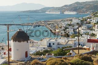 View of Mediterranean Island of Mykonos Greece