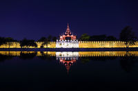 Fort or Royal Palace in Mandalay at night
