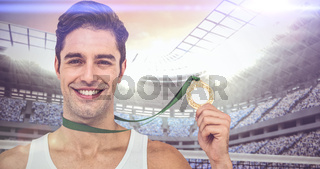 Composite image of athlete posing with gold medals around his neck