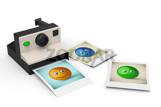 simple instant photo camera with smiley symbol photos