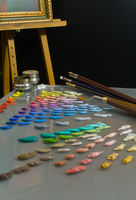 Artist's painting  palette and workspace.