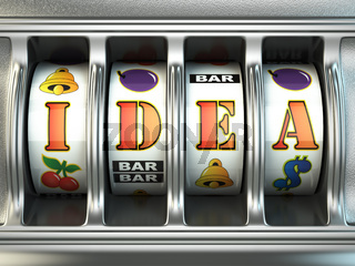 Idea concept. Slot machine with text.