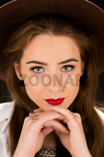 Close-up portrait of lady with red lips