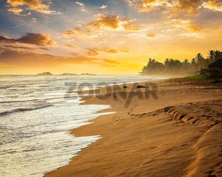 Ocean sunset at sea beach