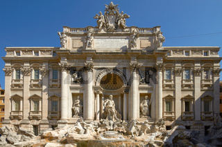 Wide Angle View of The Famous Trevi Fountain in Rome Italy