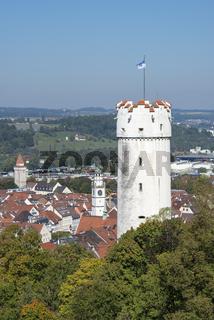 Der Stadtturm 'Mehlsack' mit der Altstadt von Ravensburg