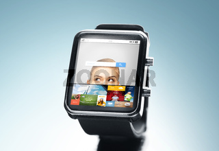 close up of smart watch with internet search bar