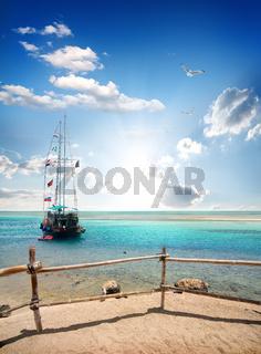 Sailboat near beach