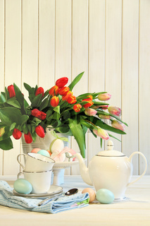 Tulips and colored Easter eggs