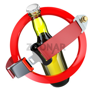 No alcohol sign concept. Bottle of beer and safety belt isolated on white