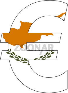euro with flag of cyprus