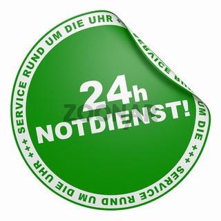 3D Aufkleber - 24h Notdienst Service rund um die Uhr grün 2