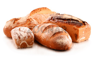 Composition with variety of baking products isolated on white