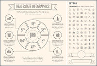 Real Estate Line Design Infographic Template