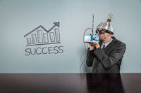 Success text with vintage businessman