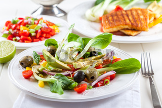 Salad with chinese cabbage pak choi and salsa vegetables