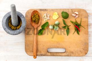 Thai food Cooking ingredients. - Paste of thai popular food.