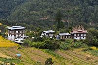 Traditionelle Wohnhäuser einer Streusiedlung im Punakah Tal in Zentral-Bhutan bei Lobesa
