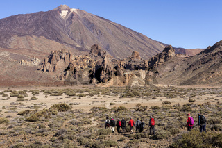 A guided walking group setting off across the Llano de Ucanca in the Las Canadas del Teide national park