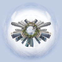 Tiny planet with skyscrapers