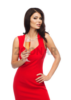 beautiful sexy woman with champagne glass