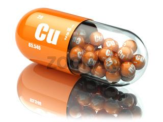 Pills with copper cuprum Cu element. Dietary supplements. Vitamin capsules.