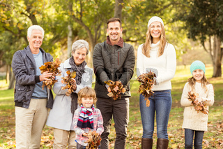 Extended family are ready to throw leaves around