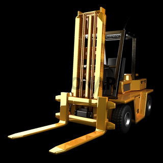 Forklift truck in dark studio