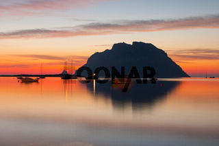 Tavolara island at sunset