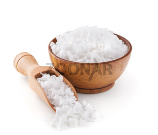 Cyprus sea salt flakes in a wooden bowl