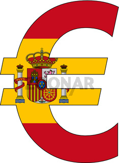 euro with flag of spain