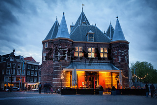 The Waag on Nieuwmarkt Square at Dusk in Amsterdam
