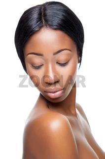 Perfect black beauty closeup on white