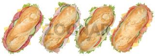 Collage belegte Baguettes mit Salami, Schinken und Käse von oben Freisteller