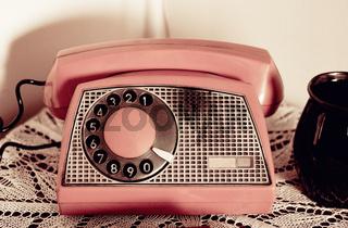 Retro rotary dial phone sepia toned