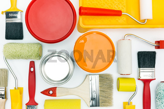 painting tools on white background