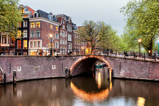 Canal Bridge in Amsterdam at Evening
