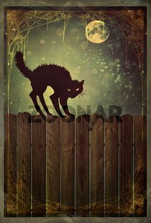 Black cat on fence with vintage look