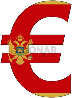 euro with flag of montenegro