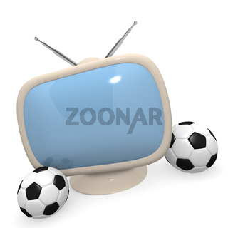Retro styled television with a soccer ball, 3d rendering