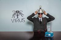 Virus text with vintage businessman