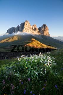 Sassolungo mountain peaks at sunrise