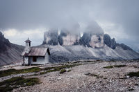 Tre Cime at cloudy evening