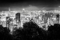 Hong Kong skyscrapers, skyline and port at night in black and white, Hong Kong, Asia