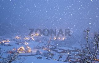 Shirakawago light-up snowfall