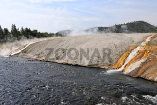 a very hot river at yellowstone national park USA