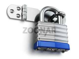Padlock hanging on lock hinge. Security concept.