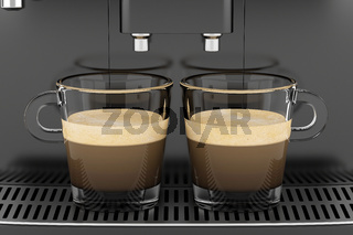two cups with coffee standing on black coffee machine