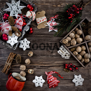Christmas decoration hanging over the wooden background